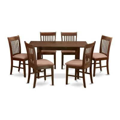 Phoenixville 7 Piece Dining Set Finish: Mahogany, Chair Upholstery: Upholstered