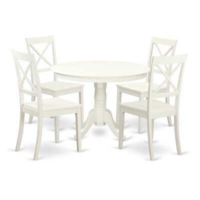 Hartland 5 Piece Dining Set Finish: Linen White