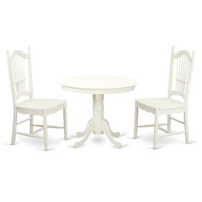 3 Piece Dining Set Finish: Linen White