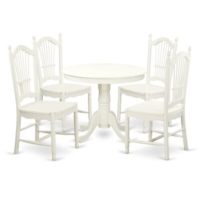 5 Piece Dining Set Finish: Linen White
