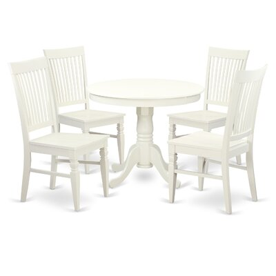 5 Piece Dining Set Color: White
