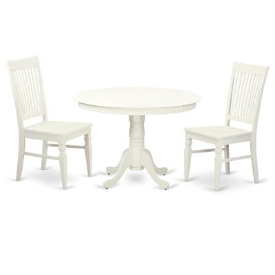 Hartland 3 Piece Dining Set Color: White