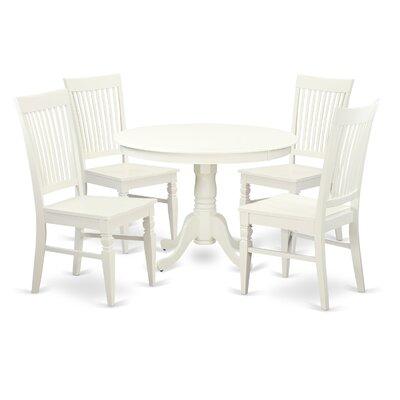 Hartland 5 Piece Dining Set Color: White