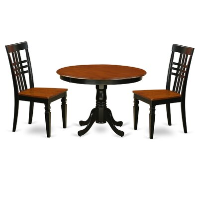 Hartland 3 Piece Dining Set Finish: Black/Cherry
