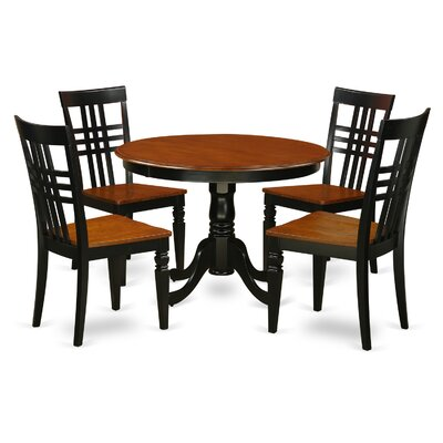 Hartland 5 Piece Dining Set Finish: Black/Cherry
