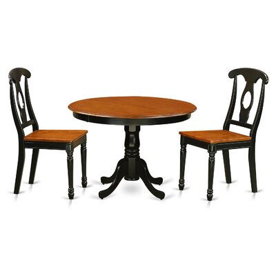 Hartland 3 Piece Dining Set Finish: Black/Cherry Piece