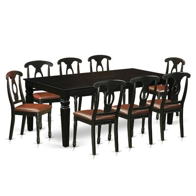 Beesley 9 Piece Hardwood Dining Set Table Finish: Black