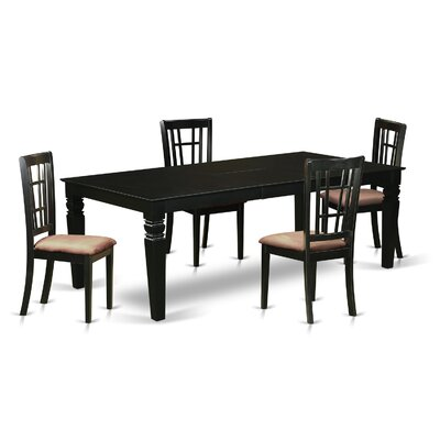 Beesley 5 Piece Rectangular HardWood Dining Set Table Finish: Black