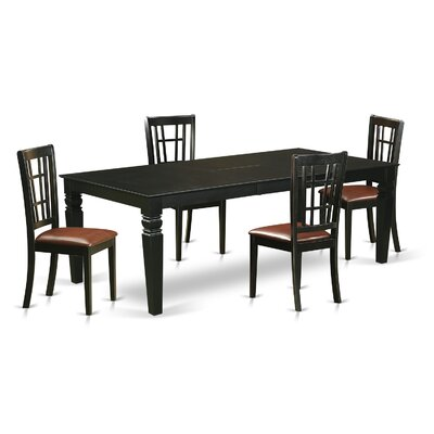 Beesley 5 Piece HardWood Dining Set Table Finish: Black