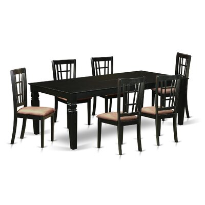 Beesley 7 Piece Dining Set Table Finish: Black