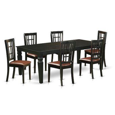 Beesley 7 Piece Rectangular HardWood Dining Set Table Finish: Black