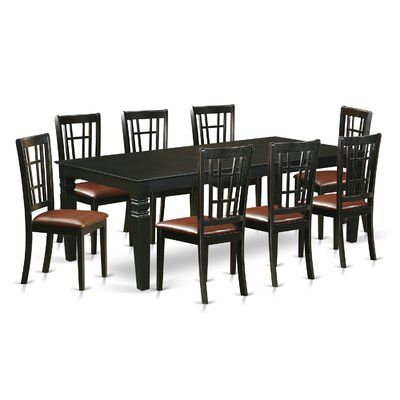 Beesley 9 Piece Rectangular Hardwood Dining Set Table Finish: Black