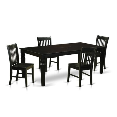 Beesley 5 Piece White Dining Set Finish: Black