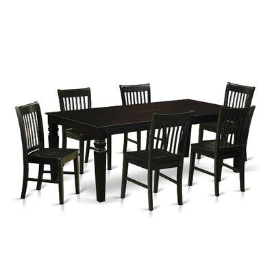 Beesley 7 Piece Rectangular Wood Dining Set Finish: Black