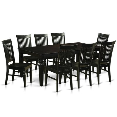 Beesley 9 Piece Black Dining Set Color: Black