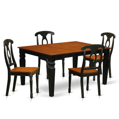 Beldon 5 Piece Dining Set Finish: Black/Cherry