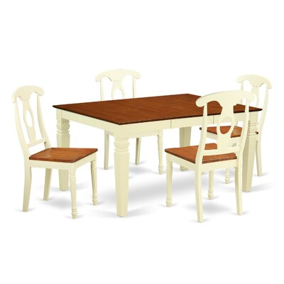 Beldon 5 Piece Dining Set Finish: Buttermilk/Cherry