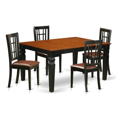 Bellagio 5 Piece Dining Set Finish: Black/Cherry, Upholstery Color: Cherry