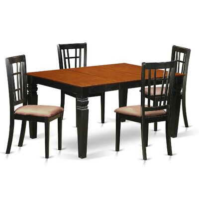 Bellagio 5 Piece Dining Set Finish: Black/Cherry, Upholstery Color: Buttermilk