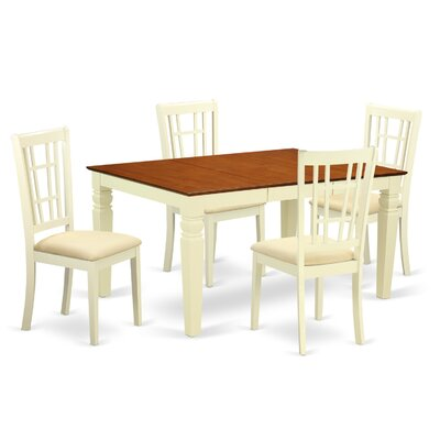 Bellagio 5 Piece Dining Set Finish: Buttermilk/Cherry, Upholstery Color: Buttermilk