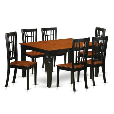 Bellar 7 Piece Dining Set Finish: Black/Cherry