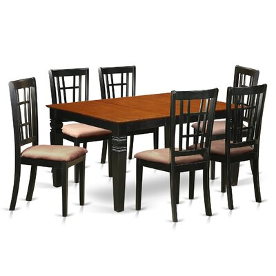 Bellanger 7 Piece Dining Set Finish: Black/Cherry, Upholstery Color: Buttermilk