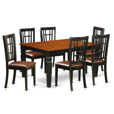 Bellanger 7 Piece Dining Set Finish: Black/Cherry, Upholstery Color: Cherry