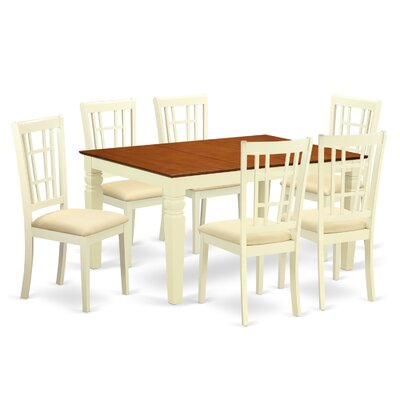 Bellanger 7 Piece Dining Set Finish: Buttermilk/Cherry, Upholstery Color: Buttermilk