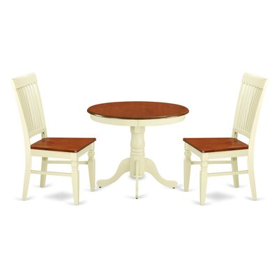 3 Piece Dining Set Color: Buttermilk/Cherry