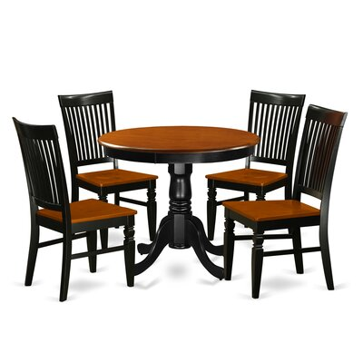 5 Piece Dining Set Color: Black/Cherry ANWE5-BCH-W