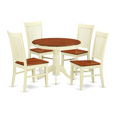 5 Piece Dining Set Color: Buttermilk/Cherry