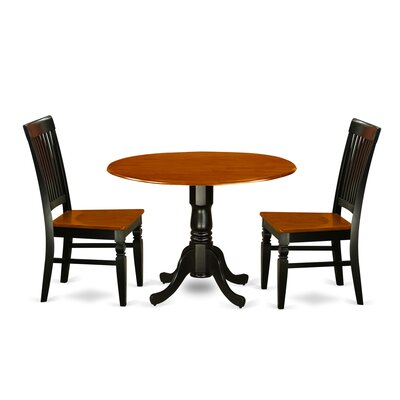 Gloucester 3 Piece Dining Set Color: Black/Cherry
