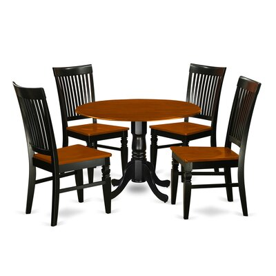 Abrahamic 5 Piece Drop Leaf Wood Dining Set Color: Black/Cherry