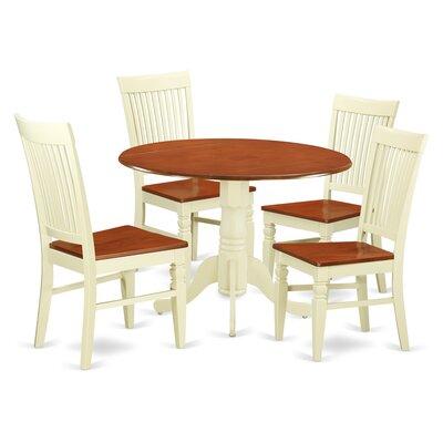 Abrahamic 5 Piece Drop Leaf Wood Dining Set Color: Buttermilk/Cherry