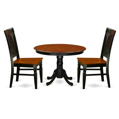 Hartland 3 Piece Dining Set Color: Black/Cherry