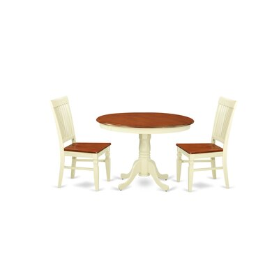Hartland 3 Piece Dining Set Color: Buttermilk/Cherry