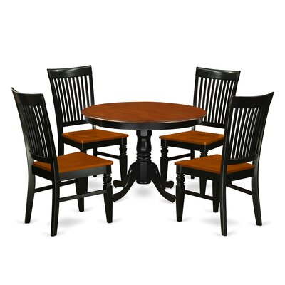 Hartland 5 Piece Dining Set Color: Black/Cherry