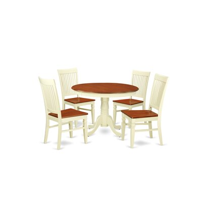 Hartland 5 Piece Dining Set Color: Buttermilk/Cherry