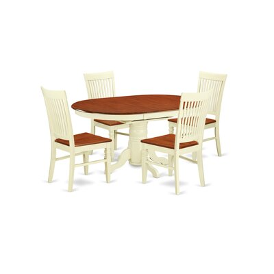 Piland 5 Piece Breakfast Nook Dining Set Color: Buttermilk/Cherry