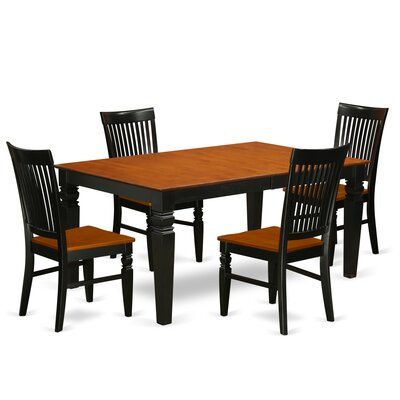 Beesley 5 Piece Black Dining Set Color: Black/Cherry
