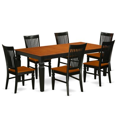Beesley 7 Piece Dining Set Color: Black/Cherry