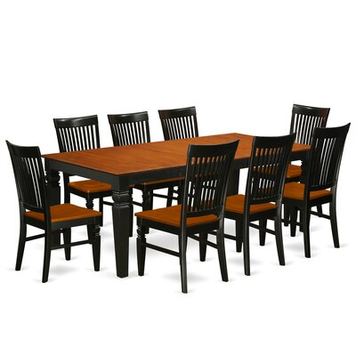 Beesley 9 Piece Black Dining Set Color: Black/Cherry