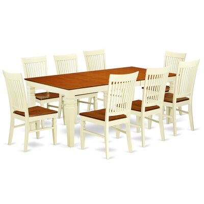 Beesley 9 Piece Black Dining Set Color: Buttermilk/Cherry