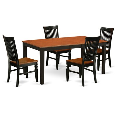 Pillar 5 Piece Extendable Breakfast Nook Dining Set Color: Black/Cherry