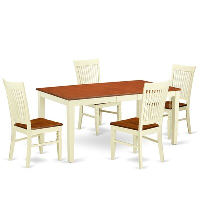 Pillar 5 Piece Extendable Breakfast Nook Dining Set Color: Buttermilk/Cherry