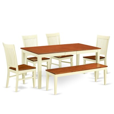 Pillar 6 Piece Extendable Dining Set Color: Buttermilk/Cherry