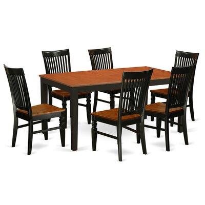 Pillar 7 Piece Extendable Breakfast Nook Dining Set Color: Black/Cherry