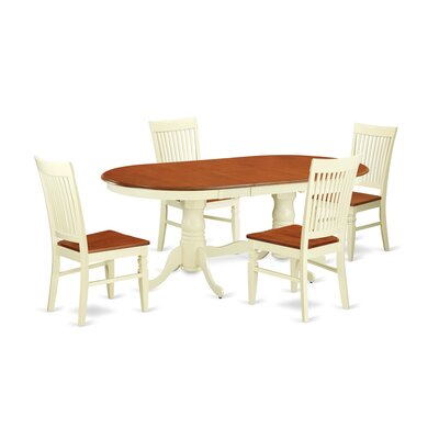 Pilcher 5 Piece Extendable Dining Set Color: Buttermilk/Cherry