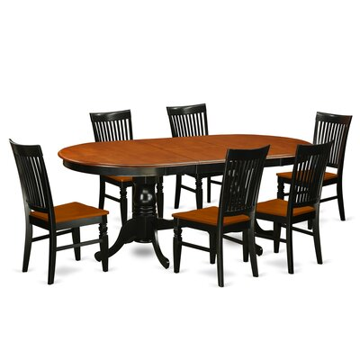 Pilcher 7 Piece Extendable Dining Set Color: Black/Cherry