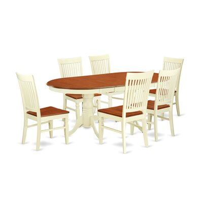 Pilcher 7 Piece Extendable Dining Set Color: Buttermilk/Cherry